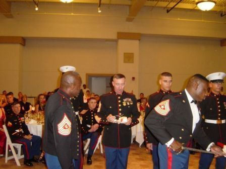 I was the oldest Enlisted at this years Ball, so I got an extra piece of cake to pass to the youngest Marine present.
